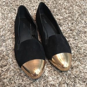 Torrid Black Suede gold toe flats